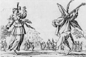 [engraving of dancers out of doors]