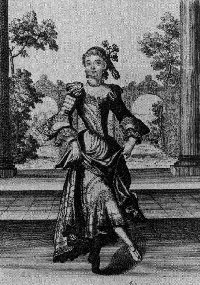 [engraving of lady in costume]
